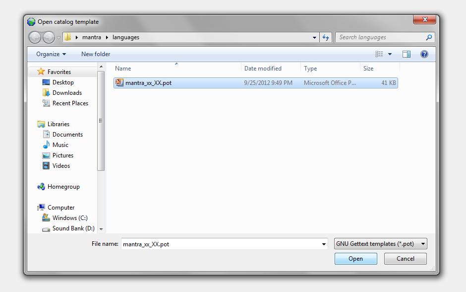 Translate a wordpress theme - Open the pot file