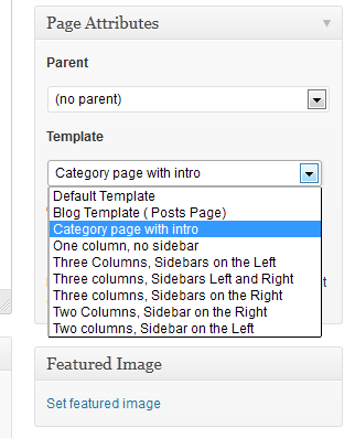 How to use the category page with intro template in our themes selecting the page template maxwellsz