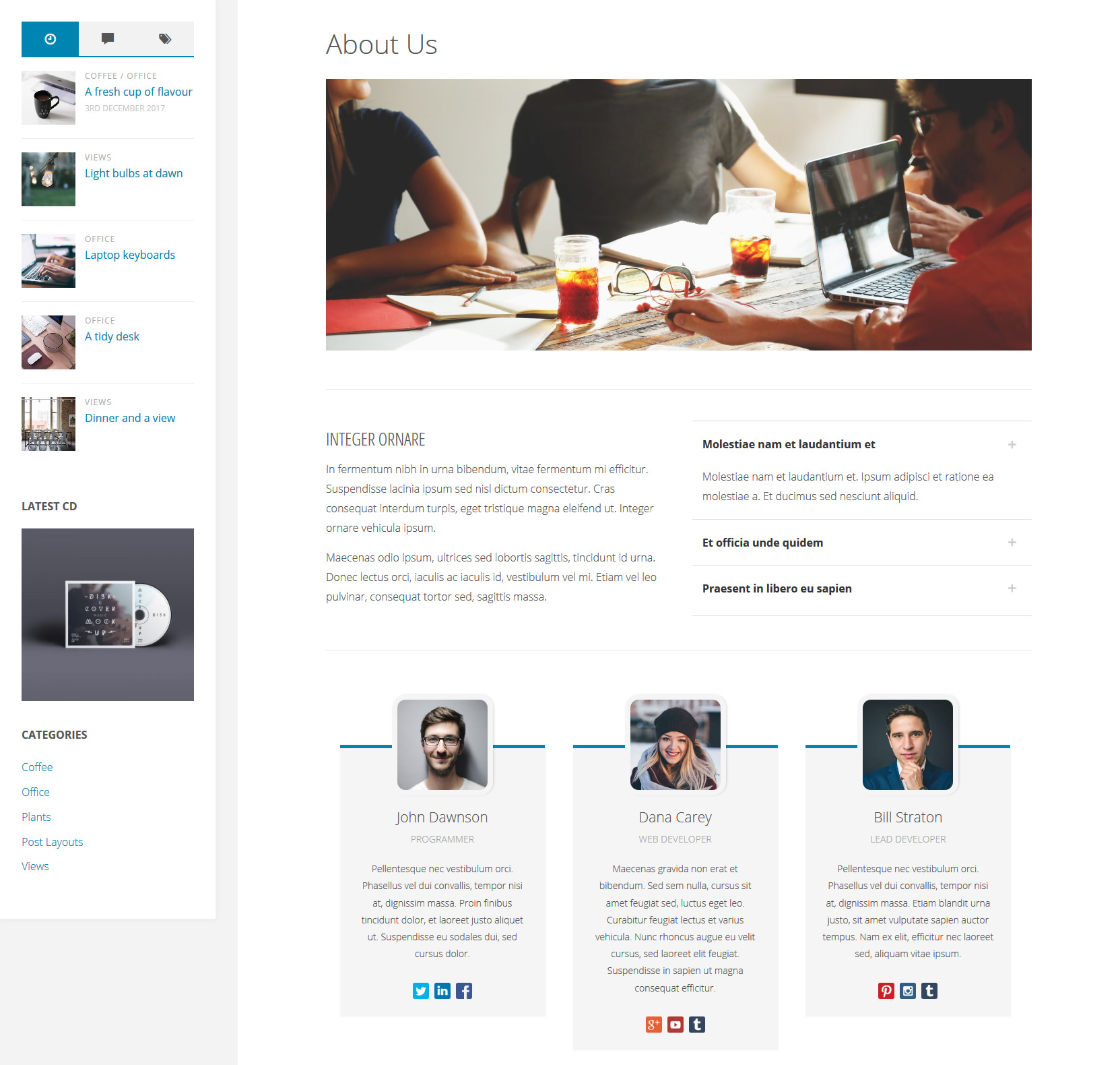 Fluida Plus About Page Template
