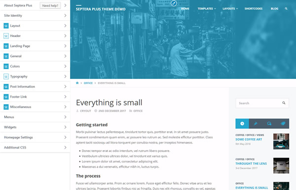 Septera - A WordPress theme with countless features and
